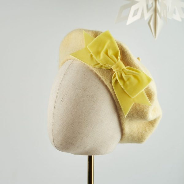 Pale Yellow Women's Beret with a Bow by Imogen's Imagination