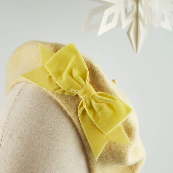 Pale Yellow Autumn Winter Hat with a Bow by Imogen's Imagination
