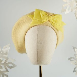 Pale Yellow Beret with Yellow Velvet Ribbon Bow