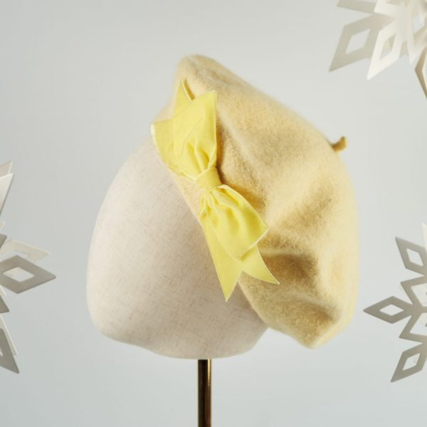 Pale Yellow French Beret with a Bow by Imogen's Imagination