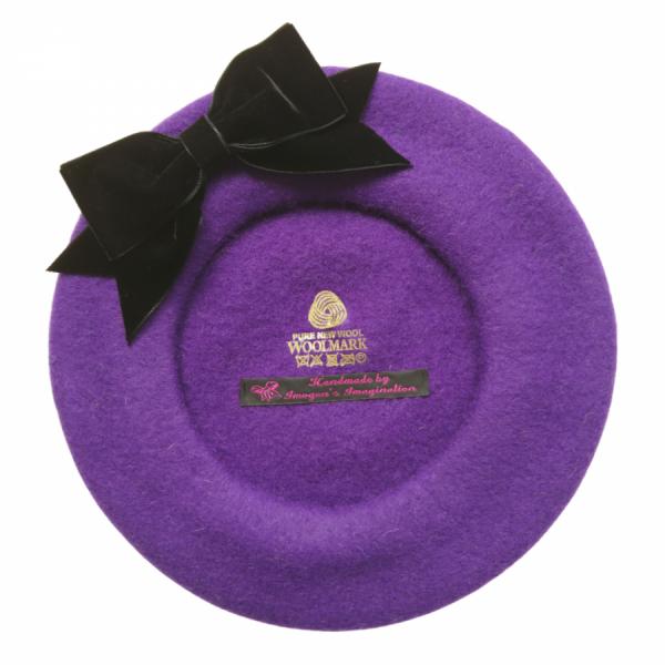 Purple Beret with Black Velvet Ribbon Bow