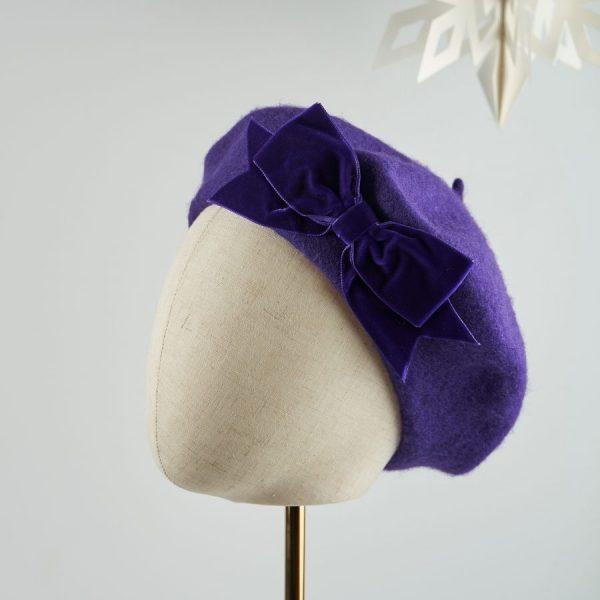 Purple Beret with Purple Velvet Ribbon Bow