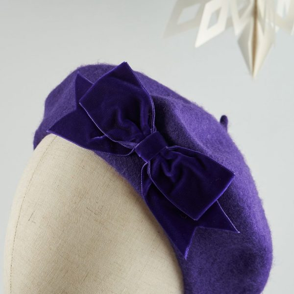 Purple Autumn Winter Hat with a Bow by Imogen's Imagination