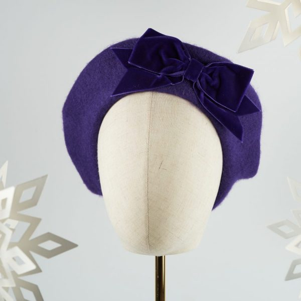 Purple Wool Felt Beret with a Bow by Imogen's Imagination