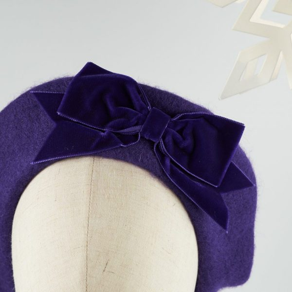 Purple Women's Beret with a Bow by Imogen's Imagination