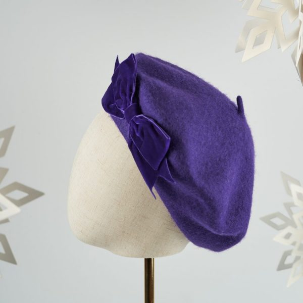 Purple French Beret with a Bow by Imogen's Imagination