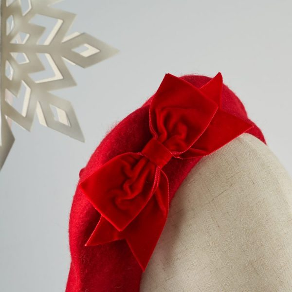 Red Autumn Winter Hat with a Bow by Imogen's Imagination
