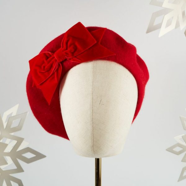 Red Wool Felt Beret with a Bow by Imogen's Imagination