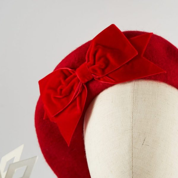 Red Women's Beret with a Bow by Imogen's Imagination