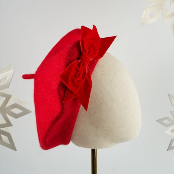 Red French Beret with a Bow by Imogen's Imagination