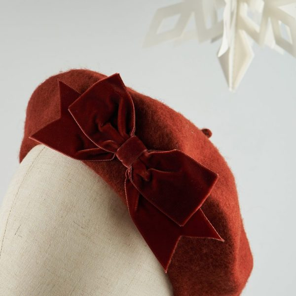 Russet Red Autumn Winter Hat with a Bow by Imogen's Imagination