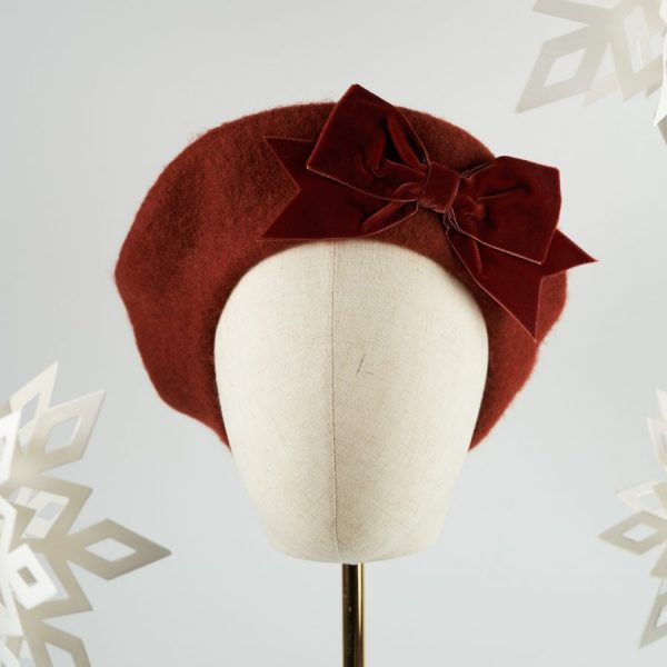 Russet Red Wool Felt Beret with a Bow by Imogen's Imagination