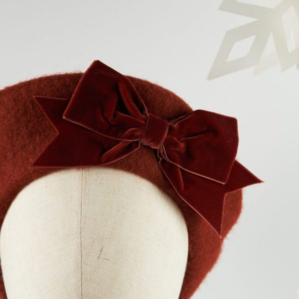 Russet Red Women's Beret with a Bow by Imogen's Imagination