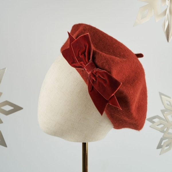 Russet Red French Beret with a Bow by Imogen's Imagination