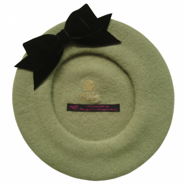 Sage Green Beret with Black Velvet Ribbon Bow