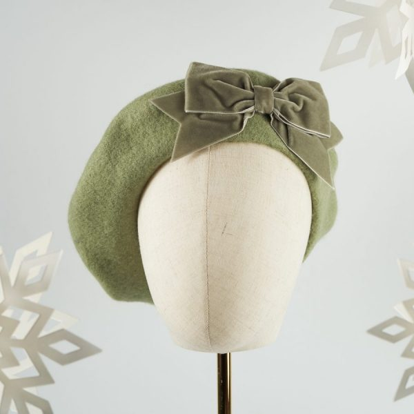 Sage Green Beret with Green Velvet Ribbon Bow
