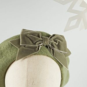 Green French Beret with a Bow by Imogen's Imagination