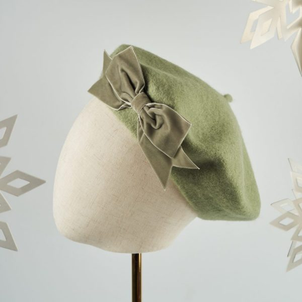 Green Women's Beret with a Bow by Imogen's Imagination