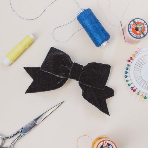 Black Velvet Ribbon Bow Hair Clip