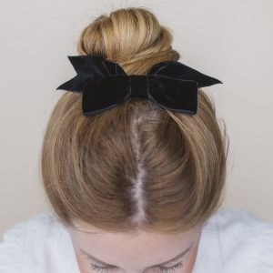 Black Ribbon Hairbow worn with a high bun