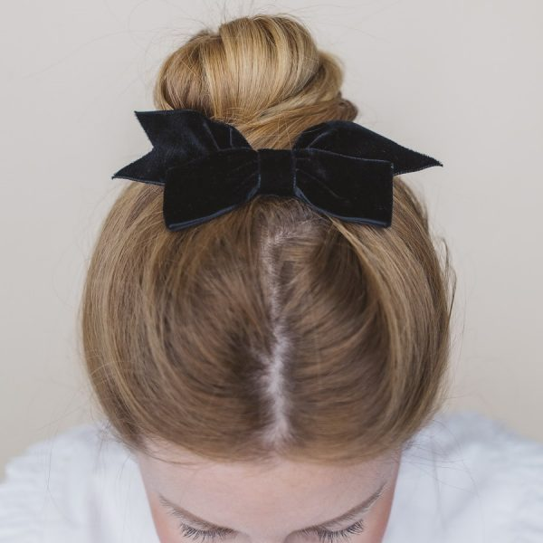 Black Ribbon Hairbow worn with a high bun