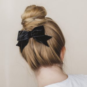 Black Velvet Ribbon Bow Hair Clip