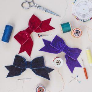 Burgundy Purple and Navy Blue Velvet Hair Bows
