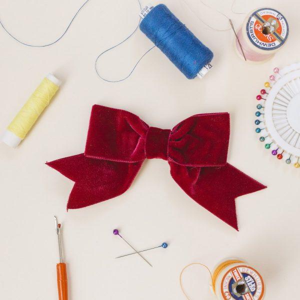 Burgundy Velvet Ribbon Bow Hair Clip