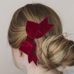 Burgundy Velvet Hair Bow worn with a bun