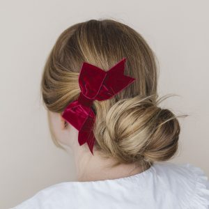 Wine Red Velvet Ribbon Bow Hair Clip