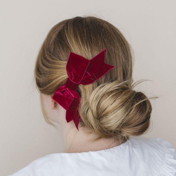 Wine Red Velvet Ribbon Bow Hair Clip