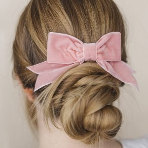 Pale Pink Velvet Ribbon Hair Bow worn with a bun