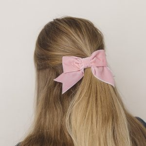 Coral Pink Velvet Ribbon Bow Hair Clip