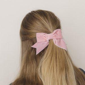 Coral Pink Velvet Ribbon Bow Hair Clip