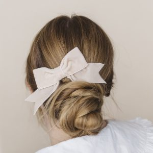 Cream Velvet Ribbon Bow Hair Clip