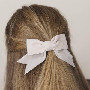Cream Velvet Hair Bow worn with ponytail