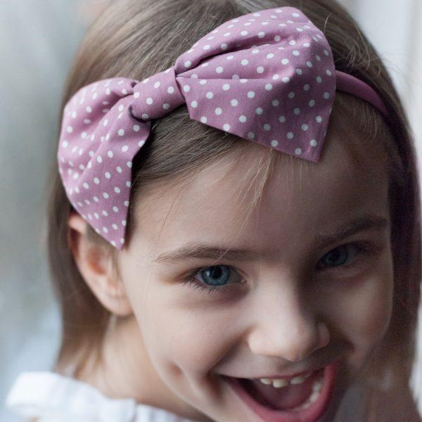 Dusky Pink Gift Set Bow Headband worn by a little girl