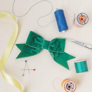 Emerald Green Velvet Ribbon Bow Hair Clip