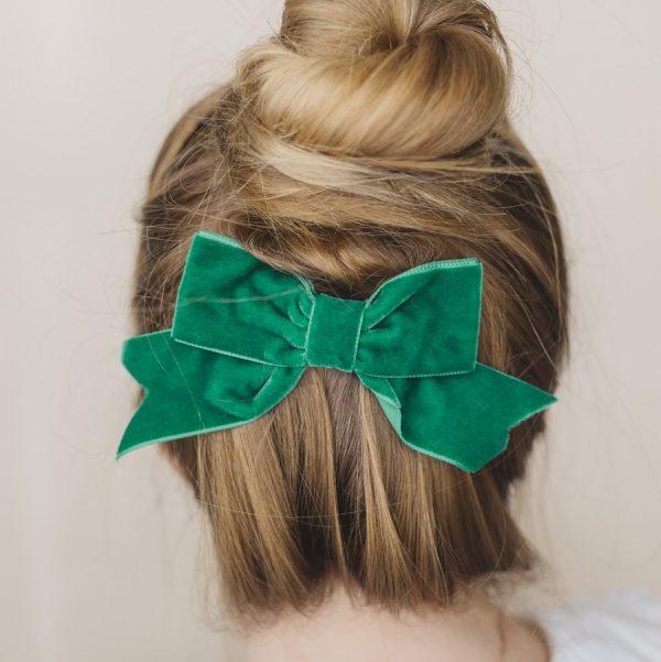Green Velvet Ribbon Hair Bow worn with a high bun