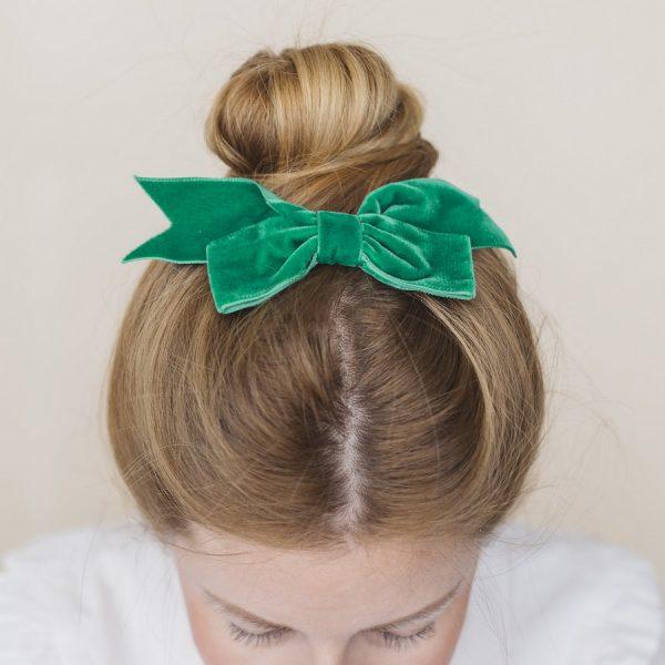 Green Bow Hair accessory worn with a high bun