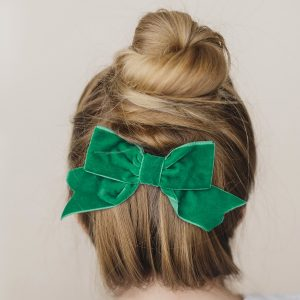 Emerald Green Velvet Ribbon Bow Hair Clip