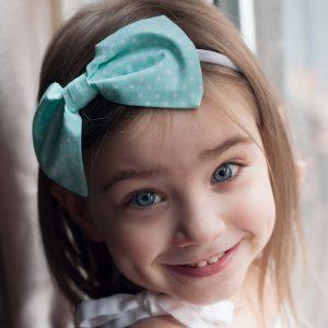 Mint Green Gift Set Bow Headband worn by a little girl