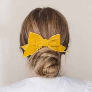 Mustard Yellow Velvet Hair Bow worn with a bun