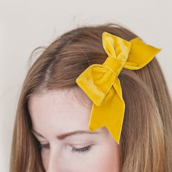 Mustard Yellow Velvet Ribbon Bow Hair Clip
