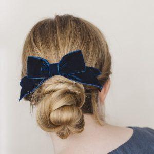 Navy Blue Velvet Ribbon Bow Hair Clip