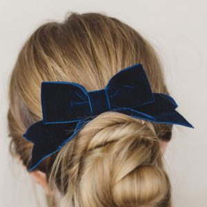 Navy Blue Velvet Hair Bow worn with a bun