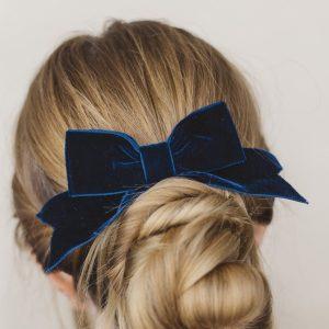 Navy Blue Velvet Hair Bow worn with a bun