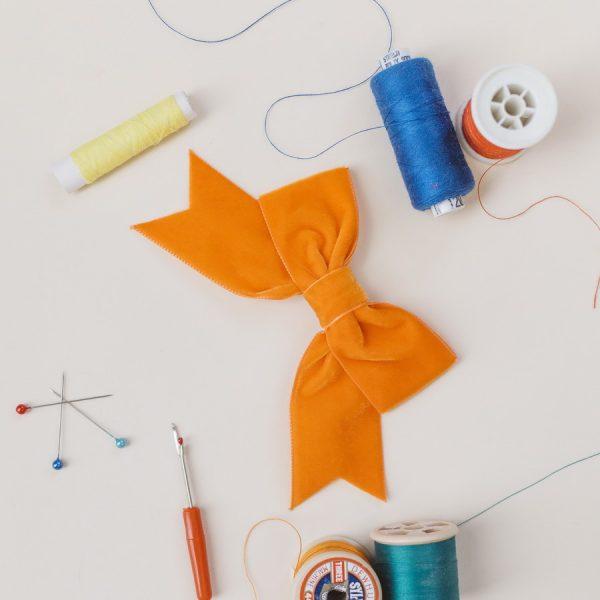 Orange Velvet Ribbon Bow Hair Clip