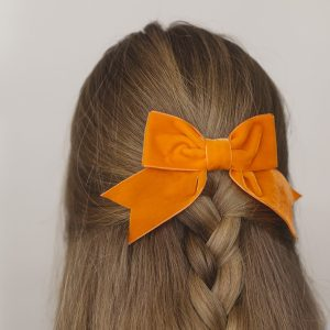 Orange Velvet Ribbon Bow Hair Clip
