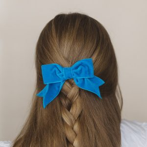 Turquoise Velvet Ribbon Hair Bow worn with a